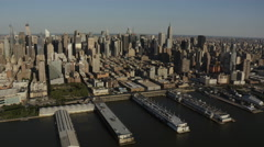 Aerial New York Manhattan Air Space Museum Pier 86 USA Stock Footage