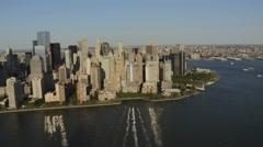 Aerial Manhattan Financial District Skyscraper Ground Zero  New York Stock Footage