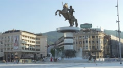 Alexander the Great Skopje Stock Footage