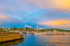 OSLO, NORWAY - 8 JULY, 2015: Marina showing many boats of different kinds parked - stock photo