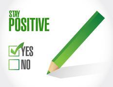 stay positive approve sign illustration - stock illustration