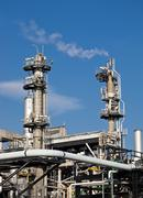 Chimneys of a gas fuel plant Stock Photos
