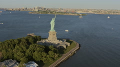 Aerial Manhattan Statue of Liberty 1 WTC  USA New York Stock Footage
