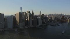 Aerial Manhattan 1 WTC Brooklyn Bridge Hudson River New York - stock footage