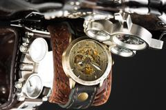 Unusual watches. several alternatives dials Stock Photos