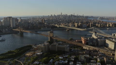 Aerial New York Brooklyn Bridge Manhattan East River Hudson River Stock Footage