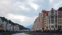 Evening at the Rosa Khutor. TimeLapse. Sochi, Russia. 4K Stock Footage