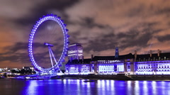London Eye time-lapse in London. Cropped. Stock Footage