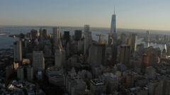 Aerial World Trade Center  Manhattan Financial District dusk New York USA Stock Footage