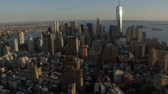 Aerial World Trade Center Skyscrapers New Jersey New York USA Stock Footage