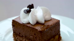 Chocolate cake with cream Stock Footage