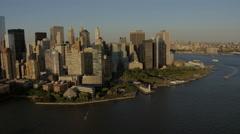 Aerial Manhattan sunset Battery Park Hudson River travel New York USA - stock footage