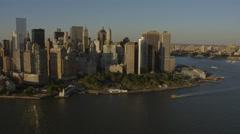 Aerial Manhattan 1 WTC sunset Skyscraper Battery Park New York USA - stock footage