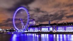 Panning shot of London Eye time-lapse in London Stock Footage