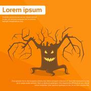 Halloween Scary Tree Smile Face Eyes Flat Vector - stock illustration