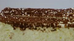 Tiramisu cake closeup Stock Footage