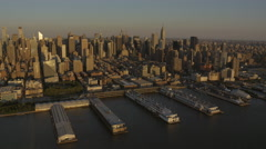 Aerial New York Air Space Museum USS Intrepid Pier 86l USA Stock Footage