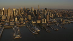 Aerial New York Air Space Museum USS Intrepid Pier 86 USA Stock Footage