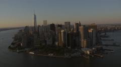 Aerial World Trade Centre sunset  Manhattan Battery Park New York - stock footage
