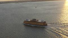 Aerial Staten Island Ferry  Hudson River Manhattan New York USA - stock footage