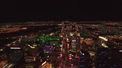 Las Vegas Strip Aerial Night Footage, Direct High Fly Over - stock footage