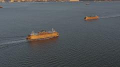 Aerial Staten Island Ferry Brooklyn Hudson River Manhattan New York - stock footage