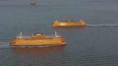 Aerial Staten Island Ferry Hudson River Lower Manhattan New York USA Stock Footage
