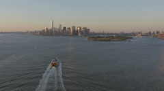 Aerial Staten Island Ferry Manhattan 1 WTC East River New York Stock Footage