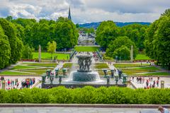 OSLO, NORWAY - 8 JULY, 2015: Big beautiful waterfall fountain located in Stock Photos