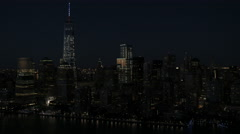 Aerial World Trade Center illuminated Financial District New York USA - stock footage