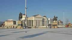 Skopje main square Stock Footage