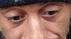 Close-up of an homeless begging for money on the street Stock Footage