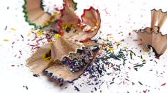 Stock Video Footage of Crayon shavings on white, slow motion