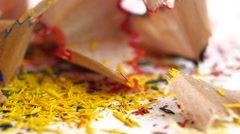 Stock Video Footage of Crayon shavings on white, close up, slow motion