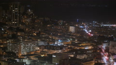City Skyline Office Buildings at Night - San Francisco California 4K Stock Footage