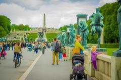 OSLO, NORWAY - 8 JULY, 2015: Tourists enjoying a beautiful sunny day in the - stock photo