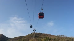 Vungtau city tourist cable car Stock Footage