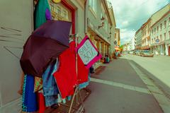 OSLO, NORWAY - 8 JULY, 2015: Sale outside local boutique store in charming - stock photo