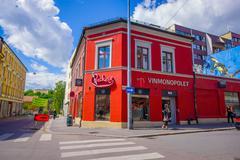 OSLO, NORWAY - 8 JULY, 2015: Charming neighbourhood Grunerlokka typical - stock photo