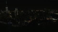 Aerial World Trade Center Manhattan illuminated Financial District New York Stock Footage