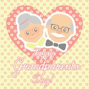 Vector illustration. Happy grandparents day. - stock illustration