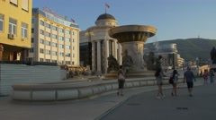 Fountain of the Mothers of Macedonia in Skopje Stock Footage
