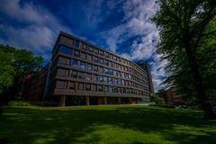 OSLO, NORWAY - 8 JULY, 2015: Office building mid-size located next to park area - stock photo