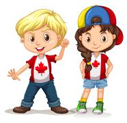 Canadian boy and girl smiling Stock Illustration