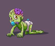 Baby zombie crawling alone - stock illustration