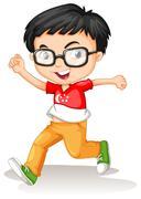 Singapore boy wearing glasses Piirros