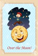 Idiom over the moon - stock illustration