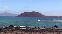 Island Lobos of Fuerteventura in the sunlight Stock Footage