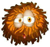 Fluffy ball with face - stock illustration
