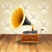 Gramophone with recorder on it Stock Illustration